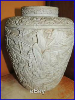 Antique White Cinnabar 9 Vase lacquer brass deep carving Chinese Qing/ Republic