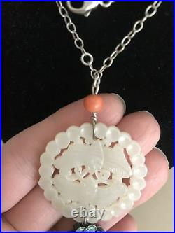 Antique White Hetian Jade Carved Double Sides Butterfly Necklace Pendant Enamel
