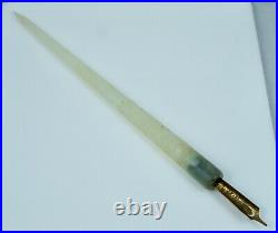 Antique White Jade Carved Chinese Export Dip Pen Fountain Floral Vintage