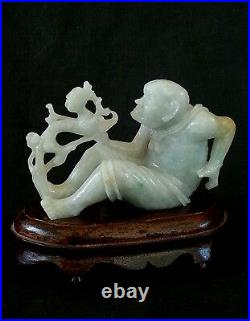 Antique finely carved chinese white Nephrite jade Man vs Dragon, very heavy 4