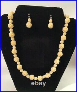 Antique vintage Chinese Carved white natural Stone Necklace