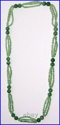 Apple Jade Jadeite Carved Green White Vintage Bead Necklace 66 grams Tested