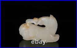 Asian Chinese White Jade Carving of Statue / Figure of Monkey on Horse