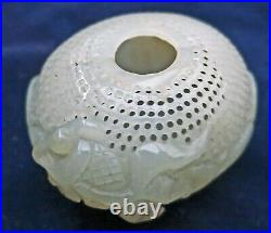 BEAUTIFUL Antique Chinese White Jade Potpourri Carved Fragrant Vessel