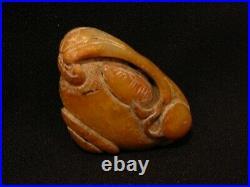 B Vintage Carved Chinese White Jade Mushroom Pendant Statue Figurine Sculpture