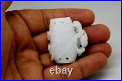 Beautiful Chinese Natural Hand Carved White Green Jade Amulet/Pendant