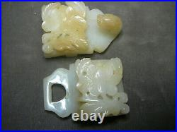 Beautifully carved open work Chinese white jade two part belt buckle 19th C