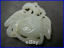 Best Quality Chinese White Jade Carving of Crab w Stand 18th/19thC (not celadon)