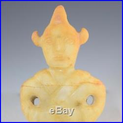 CHINESE CARVED WHITE JADE AXE withWARRIOR HANDLE 423G ARCHAIC STYLE