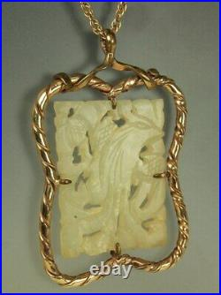 CHINESE CARVED White JADE Bird Pendant Victorian 2.5 9k + 14k CHAIN 22.25 Fab