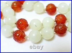 CHINESE VINTAGE Jade, Carved CARNELIAN AGATE BEAD NECKLACE 10k white gold Clasp