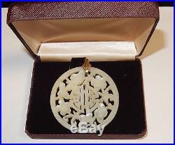 Carved Chinese Floral Design White Jade Medallion Pendant