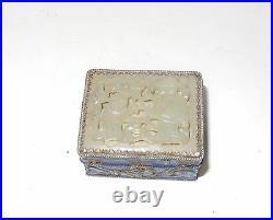 Carved Chinese Men White Jade Top Cloisonne Enamel Pill Box