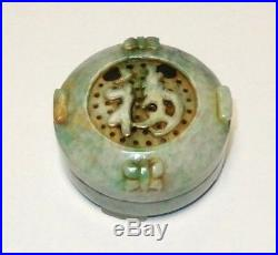 Carved Green And White Jade Censor Opium Footed Jar Box