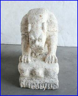 Carved Grey/White Stone Tiger Temple Guardians Garden Art, natural marble