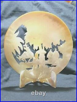 Carved Mother Of Pearl Shell With Stand Oriental Scene Vintage 6