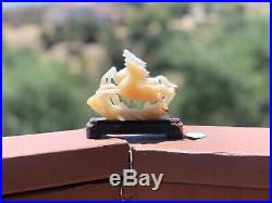 Carved White Jade Two Running Horses Rare Statue On Wooden Base