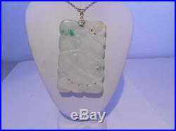 Carved antiques white & green jade pendant 14kt gold (without chain)