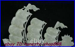 China 100% Natural White Jade Stone Hand Carved Fengshui Fish Animal Ship Statue