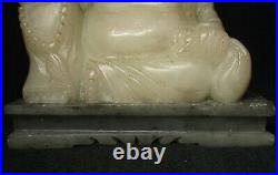 China Antiques, White Pearl Shoushan Stone Hand Carved Statue of Buddha Sitting