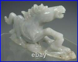 China Chinese Carved White Jade Statue of a Galloping Horse ca. 20th century