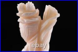 China Chinese Kwanyin Guanyin Goddess Natural Angel Skin Coral Carvings Pair Of2