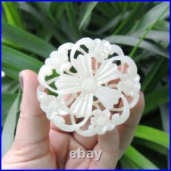 China Hetian Bluish White Jade Hand Carved Plum Blossom Flower Ring Pendant