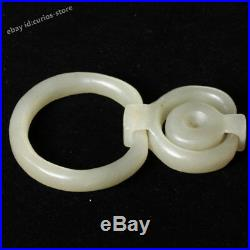 China Hetian Bluish White Jade Hand Carving Three Connecting Ring Buckle Pendant