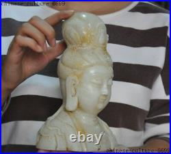 China White jade carved Kwan-yin guanyin Quanyin goddess Buddha head bust statue