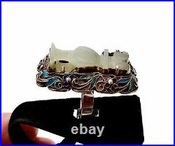 Chinese 1900's White Jade Carved Carving Vase Solid Silver Enamel Filigree Ring