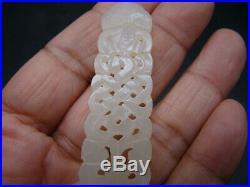 Chinese 19th century nice carved white Hetian jade pendant t5923