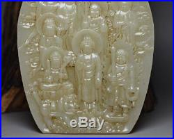 Chinese Antique An Exquisite Hand-Carved White Jade Buddha Statue