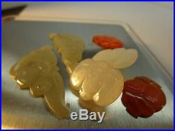 Chinese Antique Carved Jade Buttons, 3 matched pairs! Lot #23