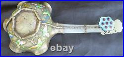Chinese Antique Enamel Bowl With Carved White Jade Handle Water Dropper