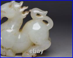 Chinese Antique Hand-Carved White Jade Horse Beast Figure Statues