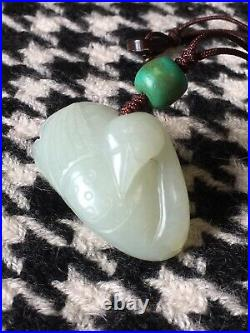 Chinese Antique Qing Dynasty Carved Hetian White Celadon Jade Goosie Pendant