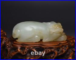 Chinese Antique Qing Dynasty Hand Carved Hetian White Jade Beast Statues