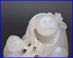 Chinese Antique Qing Dynasty Hand-Carved Hetian White Jade Child Figure Statues