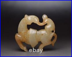 Chinese Antique Qing Dynasty Hand Carved Hetian White Jade Horse Monkey Statues