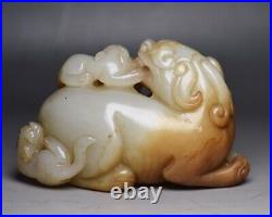 Chinese Antique Qing Dynasty Hand-Carved White Jade Beast Figure Statues 19TH