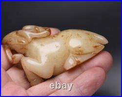 Chinese Antique Qing Dynasty Hand-Carved White Jade Deer Beast Figure Statues