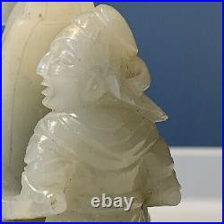Chinese Antique Qing Dynasty White Celadon Jade Figural Carving