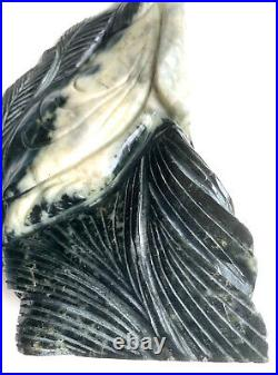 Chinese Black & White Hard Stone Carving One Of A Kind Figurine Art Sculpture