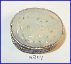 Chinese Carved Bird Design White Jade Cloisonne Enamel Pill Trinket Box