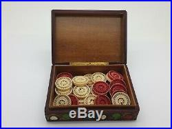 Chinese Carved Set Of 30 Red White Draughts Checkers Backgammon Counters Pieces