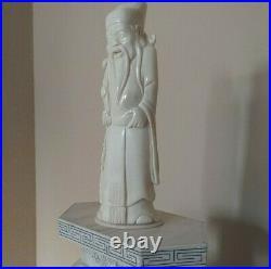 Chinese Carved Tile Bovine Bone 16 Tall x 5 1/2 Wide x 3 Deep Figurine Statue