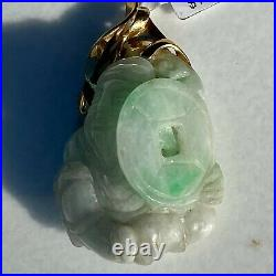 Chinese Carved White Mutton Fat Jade 14K Yellow Gold Traveler God Pendant