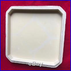 Chinese Famille Rose Porcelain Set of 5 dishes with White Carved Cinnabar Box
