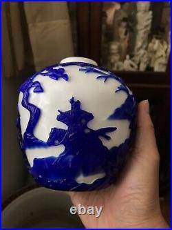 Chinese Fine Hand Carved Peking Glass Blue & White Battle Scene Jar Vase