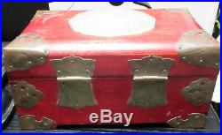 Chinese Intricate Carved Dragon White Jade Medallion Red Wood Jewelry Trunk Box